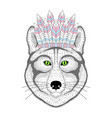 cute wolf portrait with war bonnet on head vector image