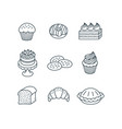 different sweet pastry items simple linear icons vector image vector image