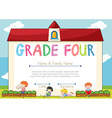 Diploma template for grade four students vector image vector image