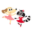 dog and raccoon puppy and kitten characters vector image vector image