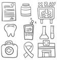 doodle of element medical set vector image