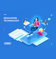 education technology page for smartphone page vector image vector image