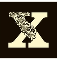 Elegant capital letter X in the style Baroque vector image