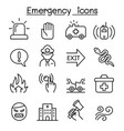emergency icon set in thin line style vector image vector image