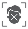 face id disapprove glyph icon face recognition vector image