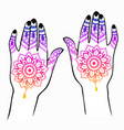 female hands with indian mehendi tattoo vector image