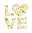 floral summer word love flower capital wedding vector image vector image