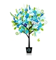 Floral tree in the pot for your design vector image vector image