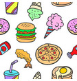 food various doodles vector image vector image