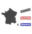 france map in halftone dot style with grunge name vector image