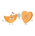 Funny waffle wafer and croissant characters doing vector image vector image