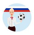 girl holding a soccer ball logo soccer cup vector image vector image