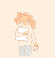 girl hugs pillow a young woman stands vector image