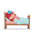 girl sick lying in bed ill cold flu disease vector image