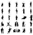 greek gods silhouette set vector image