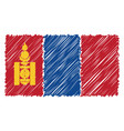 hand drawn national flag of mongolia isolated on a vector image