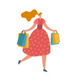 happy shopping woman with bags young lady vector image vector image