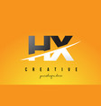 hx h x letter modern logo design with yellow vector image