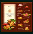 indian cuisine dishes traditional meal menu vector image vector image
