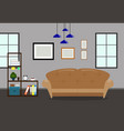 living room interior with sofabookcase and vector image