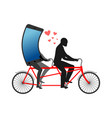 lover of gadgets man and smartphone on bicycle vector image