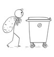 man carry large bag of waste to throw it in waste vector image