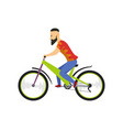 men riding bicycle with bicycle and boy in vector image vector image