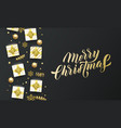 merry christmas golden lettering text black vector image vector image