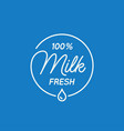 milk lettering logo round linear logo milk vector image vector image