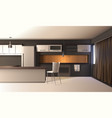 modern kitchen realistic interior vector image vector image
