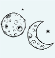 Moon and lunar craters vector image