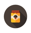 Mushroom canned flat icon with long shadow vector image