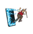 old man retired grandfather phone gadget vector image vector image
