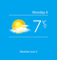 Realistic weather icon sun with clouds vector image vector image