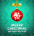 Red Christmas ball with snowy green background vector image
