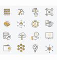 set blockchain icons editable stroke vector image vector image