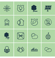 set of 16 ecology icons includes home ocean wave vector image vector image