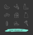 set of pastry icons line style symbols with sack vector image