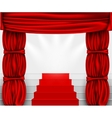 silk curtain with columns and stairs to the podium vector image vector image