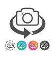 simple camera 360 flip icon design set vector image