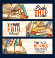 sketch banners of old rare vintage books vector image vector image