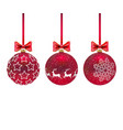 three christmas red balls with and bows on white vector image vector image