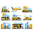 Traveling People Isolated Decorative Icons Set