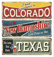 vintage tin sign collection with usa vector image