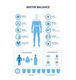 water balance set with body and organs icons vector image