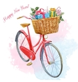 watercolor bike with presents vector image