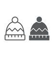 winter hat line and glyph icon clothes and vector image vector image