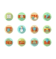 Winter holidays colored round icons set vector image vector image