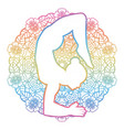 women silhouette scorpion yoga pose vector image vector image