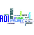 word cloud roi vector image vector image